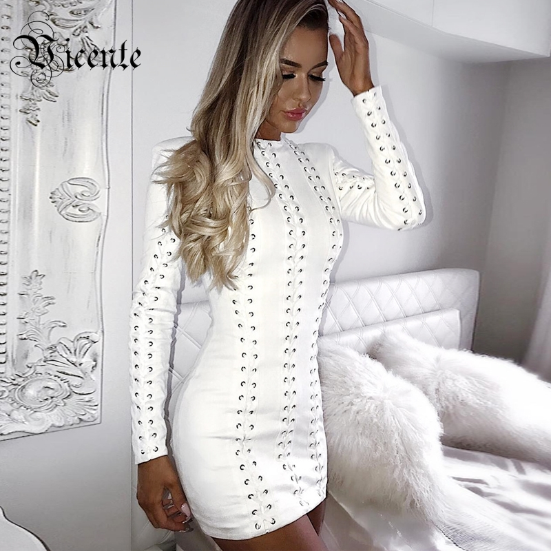 Vicente 2019 New HOT Chic Elegant White Heavy Work Cross Criss Lace Up Long Sleeves Wholesale