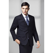 2017 Hot Sale Real Flat Navy Nlue Men Tuxedos Wedding Suits For Three Buttons Slim Fit Notched Lapel Grooms Suit (jacket+pants)