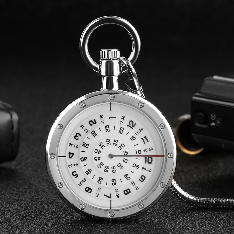 White Unique Unisex Pocket Watch Mini Turntable Numerals Dial Quartz Clock Best Gift For Men Women Snake Chain Watch
