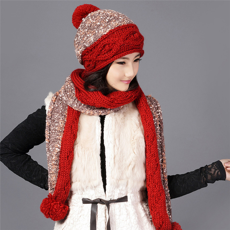 Charles Perra Women Hat Scarf Sets Winter Thicken Wool Knitted Hats With Hairball Casual Handmade Woven Woolen Beanies Caps 9582