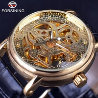 Forsining 3d esqueleto torção design movimento dourado dentro caso transparente relógios masculinos marca superior relógios automáticos de luxo