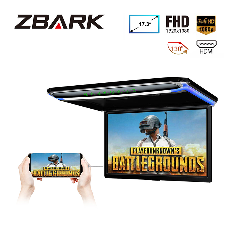 17.3 Monitor 1080P Video HD Digital TFT Screen Wide Screen Ultra thin Mounted Car Roof Player HDMI IR FM USB SD NO DVD - 3