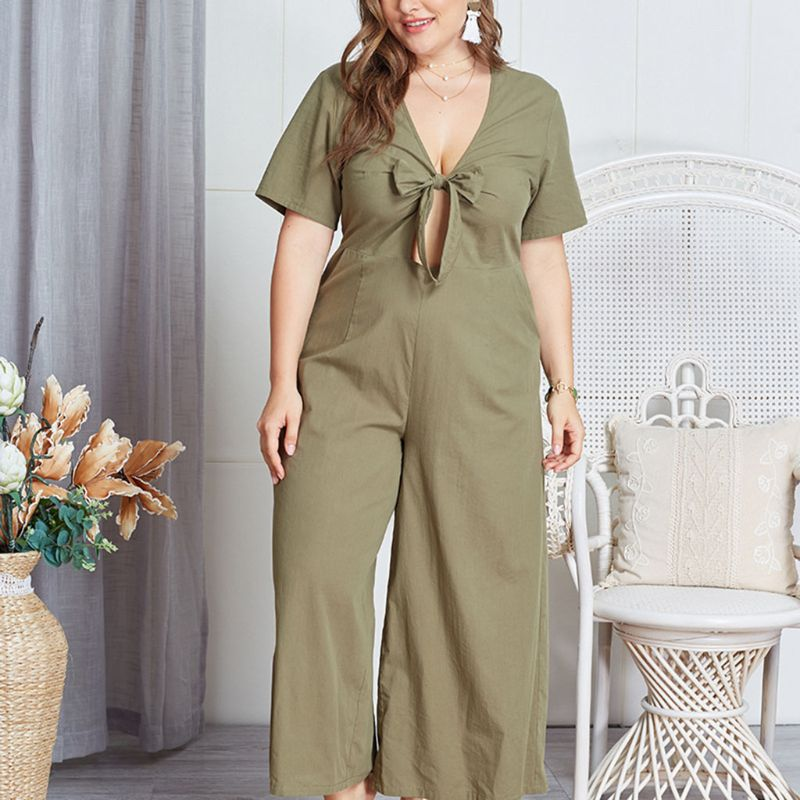Women Plus Size Hollow Out Front Bow Tie Elegant Summer V Neck Wide Leg Pants Long Jumpsuit Romper in Jumpsuits from Women 39 s Clothing