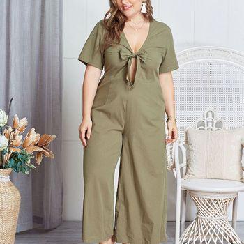 Women Plus Size Hollow Out Front Bow Tie Elegant Summer V-Neck Wide Leg Pants Long Jumpsuit Romper cut out neck wide leg halter jumpsuit