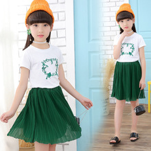 цена на Girls suit summer new chiffon skirt two-piece cotton printing short-sleeved T-shirt + skirt children's clothing