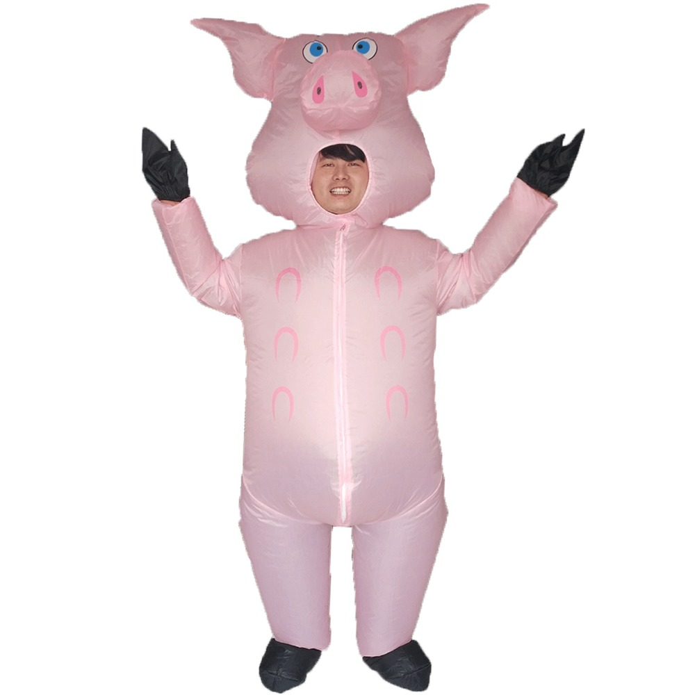 Pink Pig Inflatable Pig Costumes For Adults Animal Halloween Carnival Cosplay Party Fancy Dress Women Men Birthday Outfits Pink