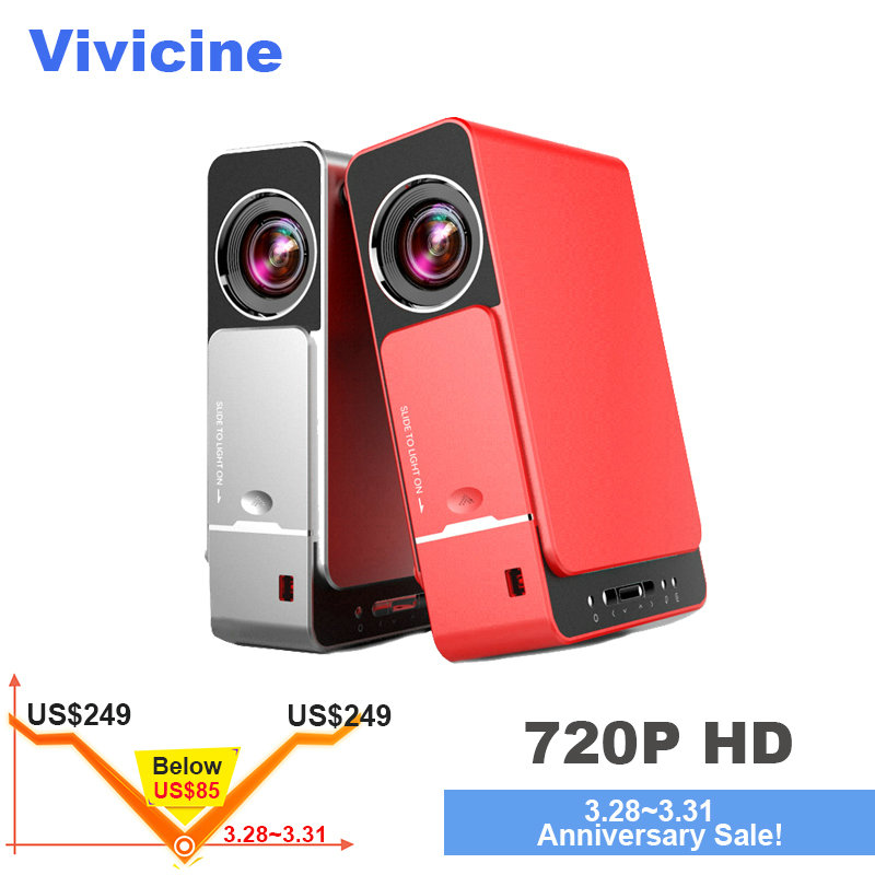 VIVICINE 1280x720 p HD projecteur led, option Android 7.0 HD Portable HDMI USB 1080 p Home Cinéma Proyector Bluetooth WIFI Beamer