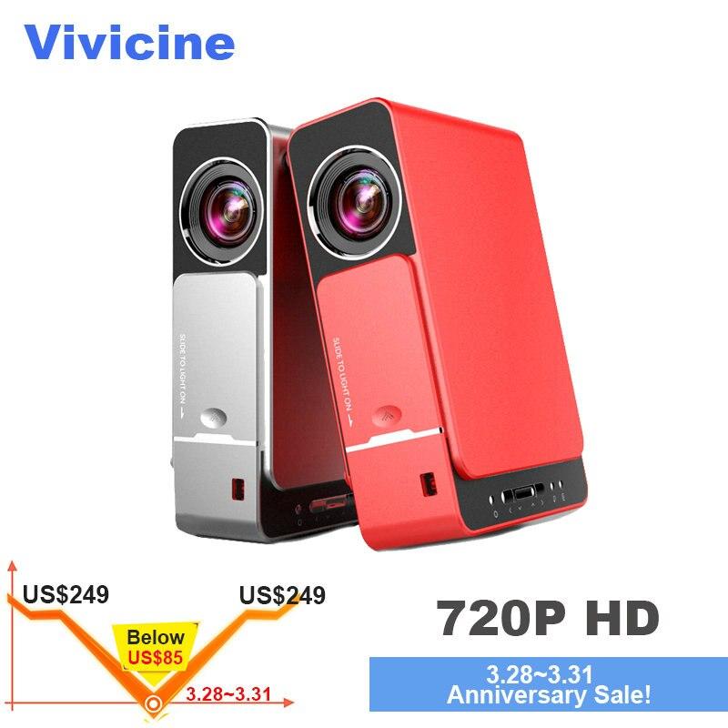 VIVICINE 1280x720 p HD LED proyector opción Android 7,0 HD portátil HDMI USB 1080 p casa teatro Proyector Bluetooth WIFI Beamer