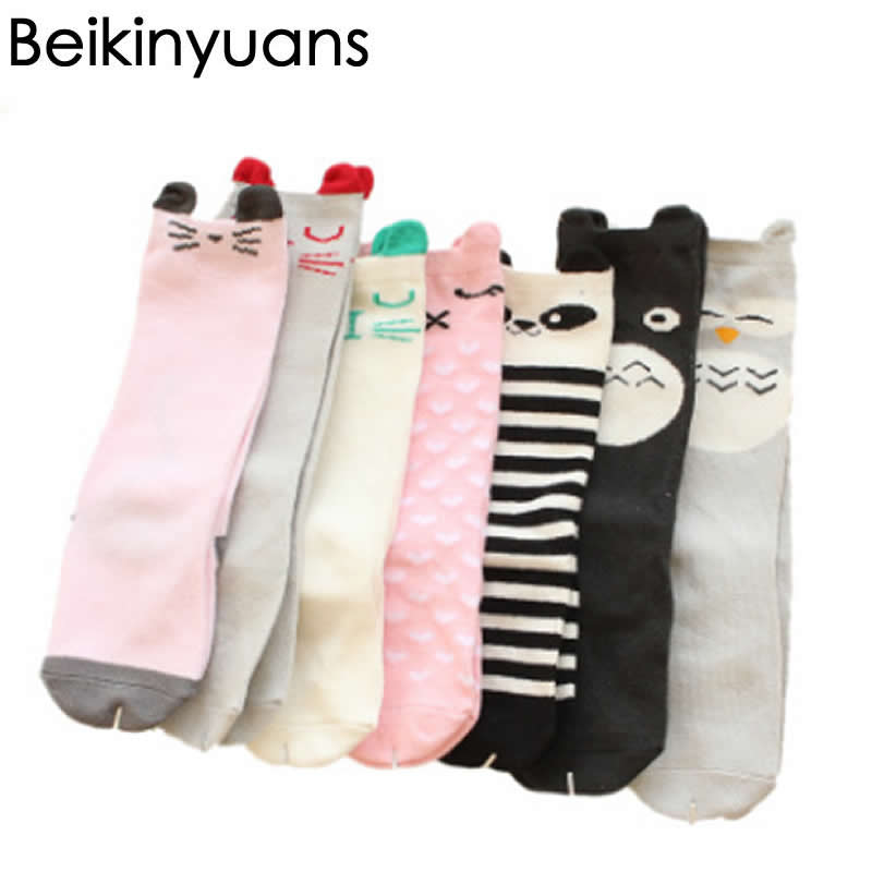Cotton Socks Kids Knee High Cute Cartoon Long Sock Creative Tide Cotton Toddler Socks Leg Warm Knee High