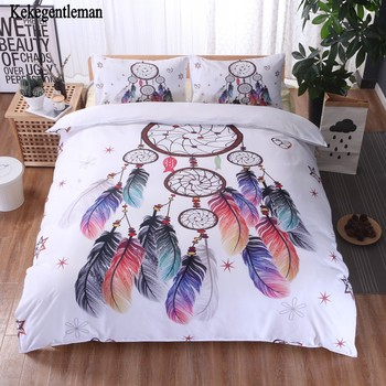 Disc Wind Chimes Bedding Set Queen Size Feathers Duvet Cover White Bed Set Beautiful Bedclothes 3pcs Twin double Full king size