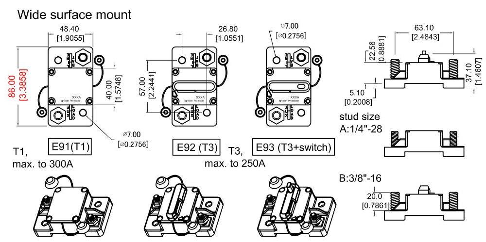 Flush Schalttafeleinbau leistungsschalter 60A 70A 80A 90A 120A AMP ...