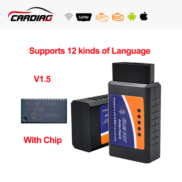 ELM327 V1.5 Bluetooth/ELM327 Wifi optional PIC18F25K80 chip Supports OBD II Protocols ELM 327 OBDII OBD2 Diagnostic Tool Scanner