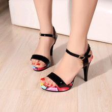 Sandals Patent Leather new Woman's shoes high heel 10CM Platform 3CM Female summer small yards EUR Size 33-40