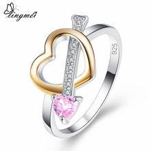 Женское кольцо с розовым и желтым белым цирконом размеры 6 7
