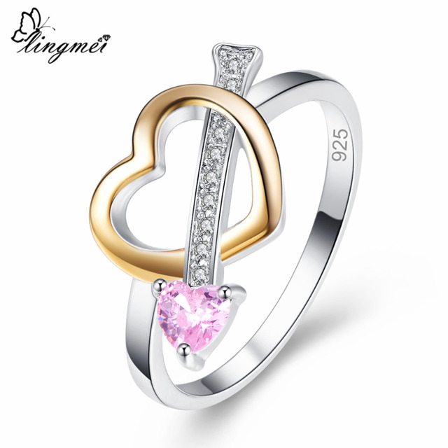 Lingmei Love Heart Women Fashion Jewelry Pink & Yellow & White Zircon Silver 925 Ring Size 6 7 8 9 Wedding Bridal Ring Gifts