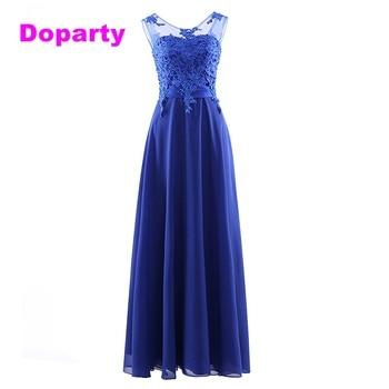 9ff0cc832 Doparty largo apliques tamaño personalizado formal largo de encaje azul  real elegante Madre de la novia vestidos de fiesta 2019 nuevo