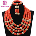 Fashion Nigerian Coral Beads Necklaces Set for Wedding  Gold Dubai Bridal Statement Necklace Set Free Shipping CNR635