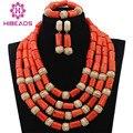 Moda Nigeriano Coral Perlas Collares Set para La Boda CNR635 Oro Dubai Nupcial Conjunto Collar de la Declaración Envío Gratis