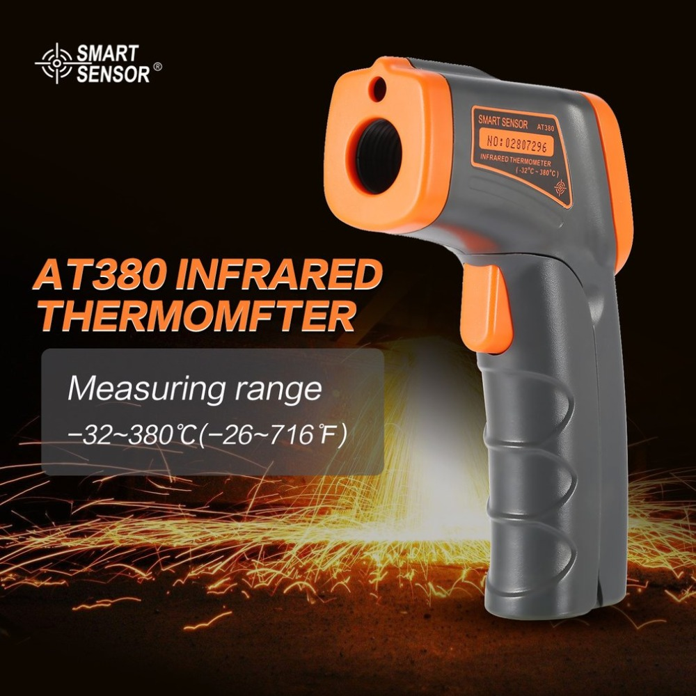 SMART SENSOR LCD AT380 Termometro A Infrarossi Senza Contatto Termometro A Infrarossi Temperatura Pirometro IR Point Laser Gun
