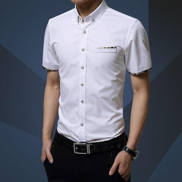 Camisa dos homens de Manga Curta de Alta Qualidade Casual Mens Slim Fit Vestido camisa Plus Size S-5XL Verão Nova Gola Virada Para Baixo Camisas de Negócios