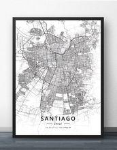 Плакат с картой Чили Сантьяго