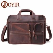 JOYIR Genuine Leather Briefcases Men Vintage Crazy Horse Business Briefcase 17 Laptop Crossbody Shoulder Travel Bag