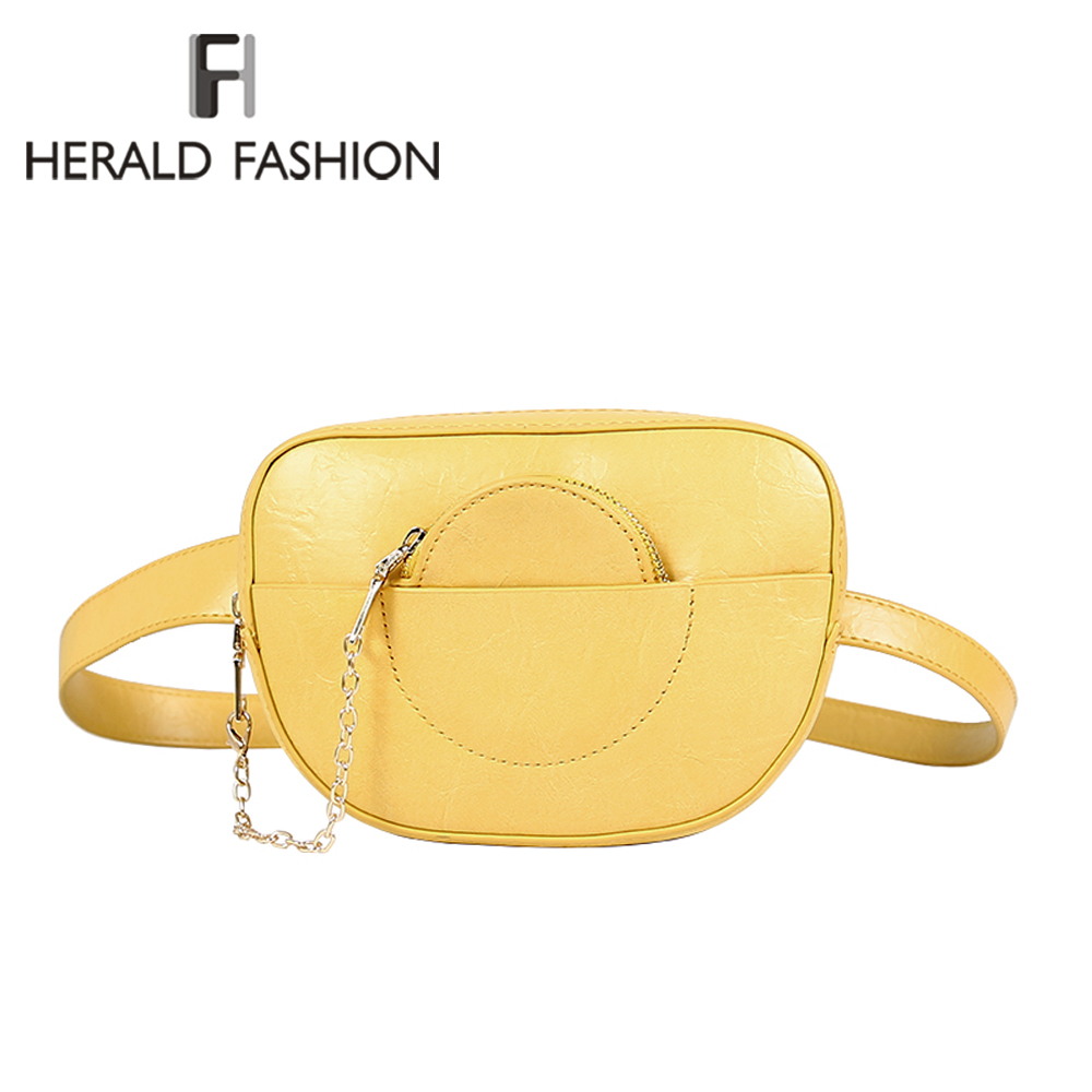 77b2282abe1 US $13.03 40% OFF|Herald Fashion Women Waist Bags For Phone Female Fanny  Packs Quality Leather Belt Bag with Chain Ladies' Hip Bags bolsa cintura-in  ...