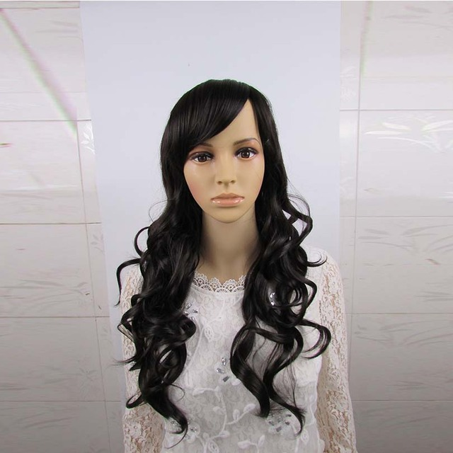 Women Wigs High Temperature Synthetic Hair Wigs Long Weave Side