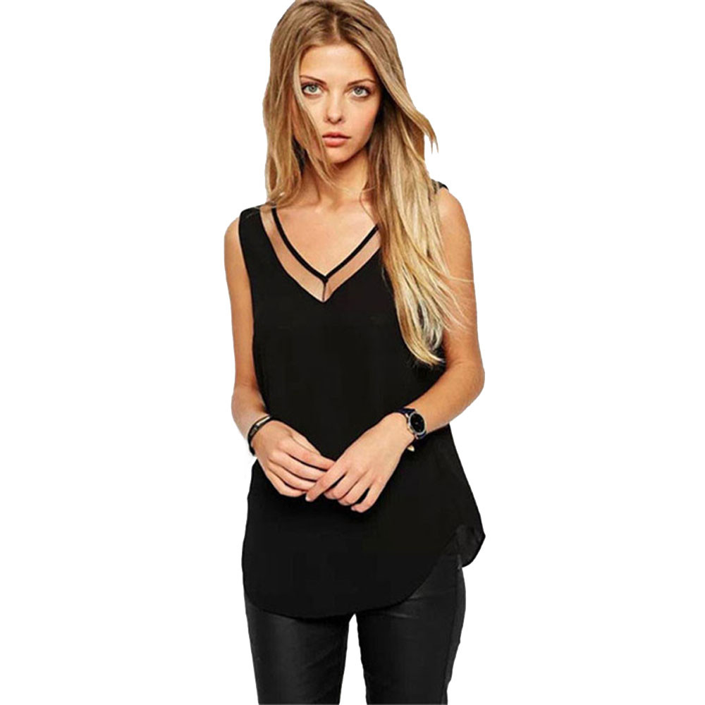 Free Ostrich   blouses   Vest 2019 Summer Womens Solid Color Sleeveless Chiffon   Blouse     Shirts   blusas feminino B0220