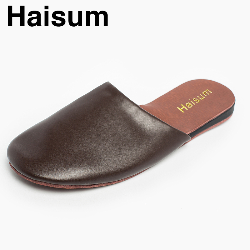 Men's Slippers Spring And Autumn Pu Leather Home Indoor Non - Slip Thermal Slippers 2018 New Hot Haisum Tb002 men s slippers winter pu leather home indoor non slip thermal slippers 2018 new hot haisum h 8007