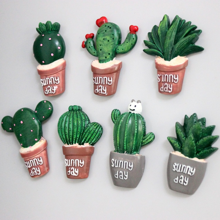 10pcs creative cactus 3D refrigerator stick message board magnet convenient paste decorative resin 3D plant Model Toys magnets