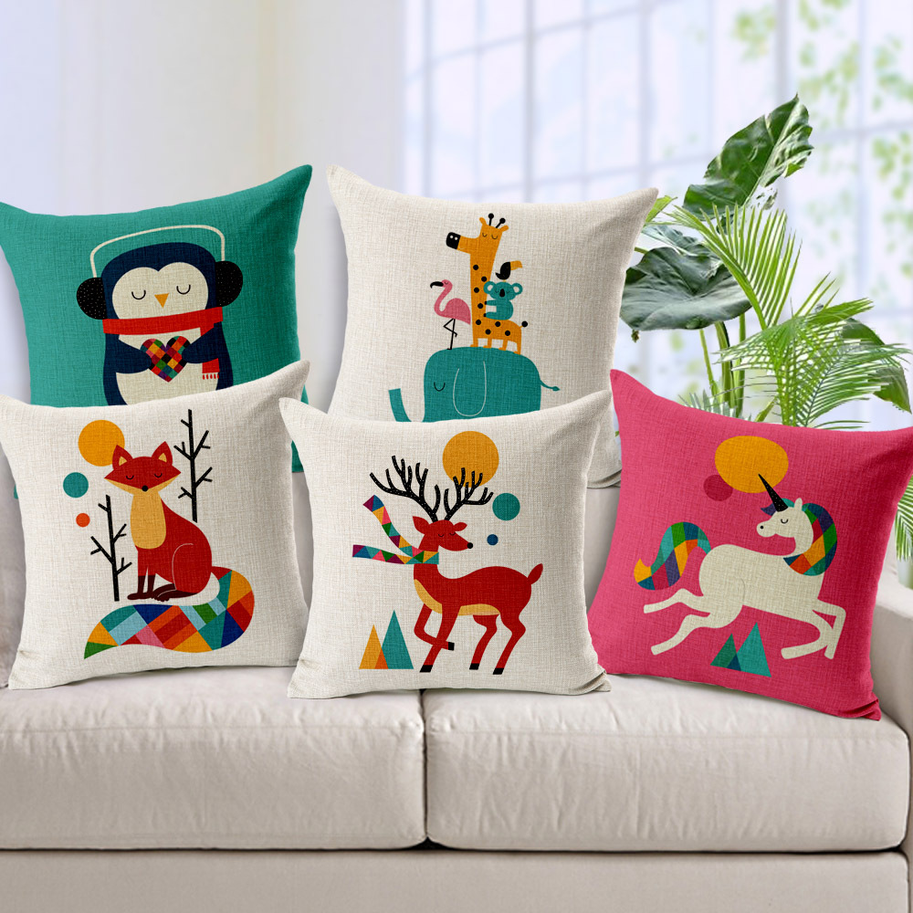Fox pillow cover cartoon animal owl lion rabbit unicorn - Telas de tapizar sofas ...