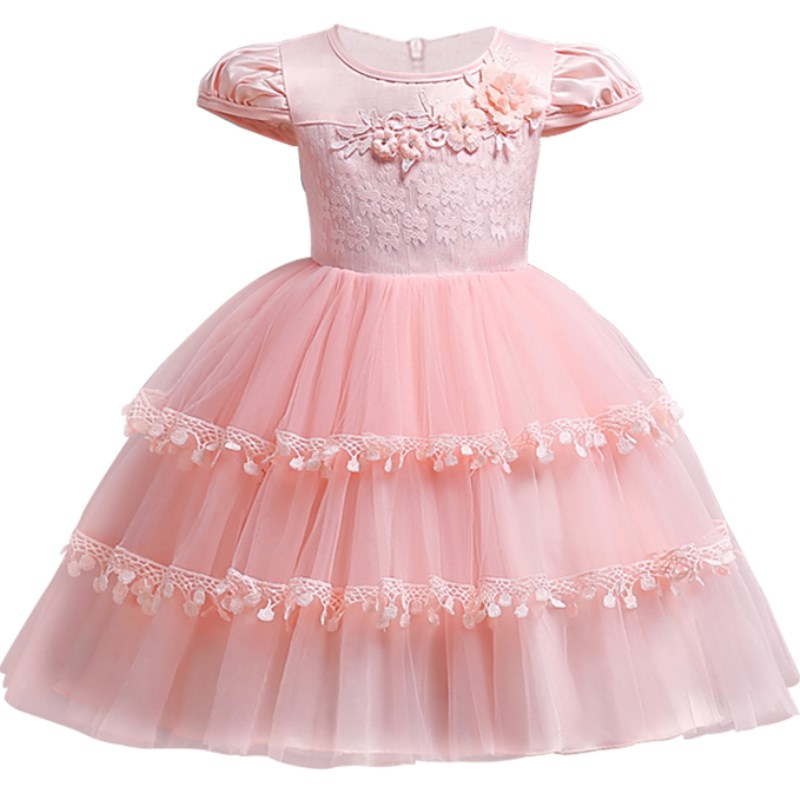 1-10 year Kids baby short sleeve dress Children's birthday dress Applique lace princess dress girl Banquet beautifully dressed
