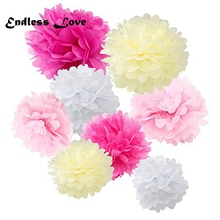 45pcs mixed (10cm,15cm,20cm) Wedding decoration Tissue paper pom poms party decoration baby shower New year party supplies