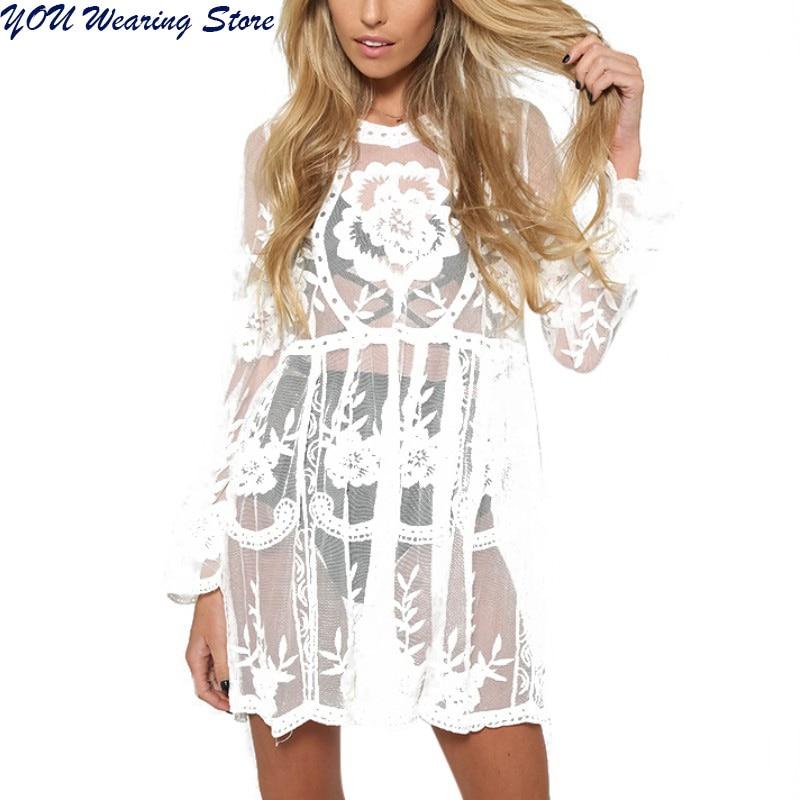 2017 Women Beach Dress Sexy Strap Sheer Floral Lace Embroidered Crochet Summer Dresses Hippie Dress Vestidos Beach Wear 2755