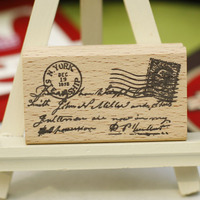 High Quality Vintage Letter Stempel Diy Postcard Or Bookmark Scrapbooking Stamp Beatiful Wooden Rubber Stamps Carimbos