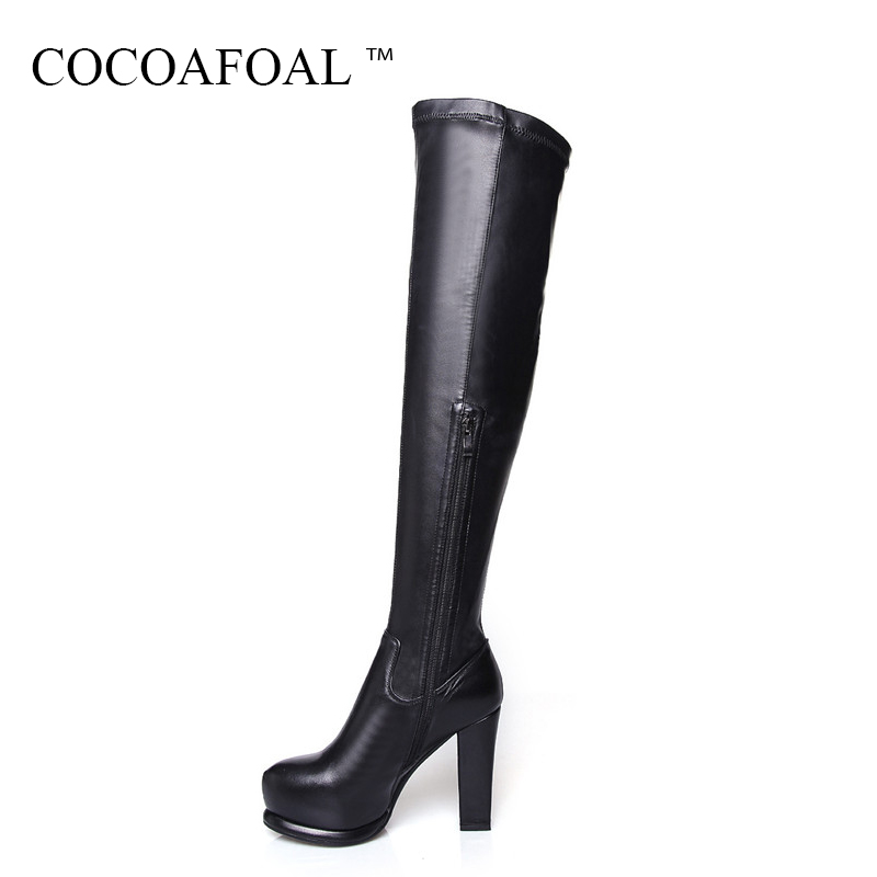 COCOAFOAL Fashion Zipper Chelsea Thigh High Boots Sexy Winter Black Women High Heeled Shoes Genuine Leather Over The Knee Boots