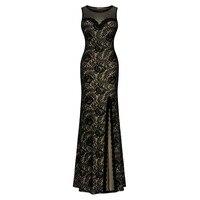 Frauen Sleeveless Langes Black Lace Split Side Abend Formale Kleid Promi Maxi Kleider
