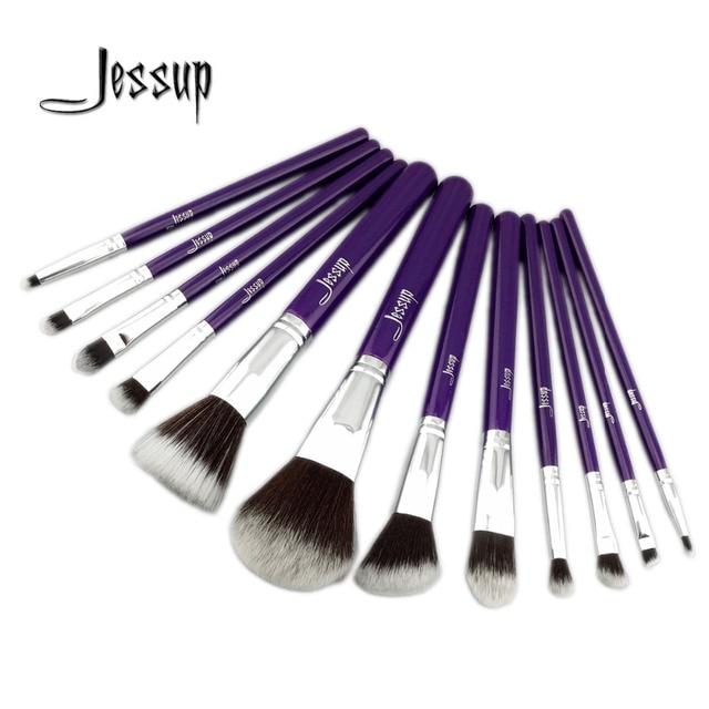 Jessup pro makeup cosméticos set fundação eyeshadow escova de madeira ferramentas blush set 12 pcs roxo/prata