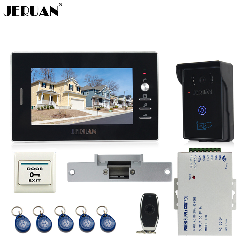 JERUAN 7`` luxury Video Intercom Entry Door Phone System+700TVL Touch Key Waterproof RFID Access Camera+Cathode lock jeruan new 7 video intercom entry door phone system 1monitor 700tvl touch key waterproof rfid access camera remote control