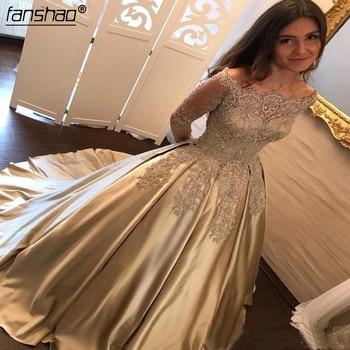 Satin Muslim Evening Dresses 2019 A-line Long Sleeves Pearls Lace Islamic Dubai Saudi Arabic Long Evening Gown Prom Dress