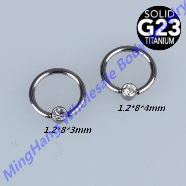 G23 Grade Titanium Crystal Disc Captive Ring Nose Ring Nipple Ear Cartilage Tragus Clicker Captive Body Jewelry