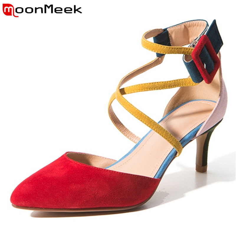 ФОТО MoonMeek 2017 new arrive women pumps fashion pointed toe color mixing narrow band high heels summer shoes ladies office shoes
