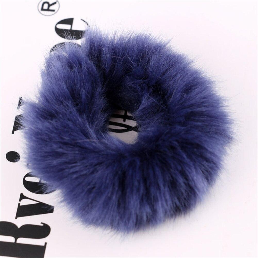 1 мягкий пушистый искусственный мех, пушистый благородный, новинка, шикарные резинки для волос, эластичное кольцо для волос, аксессуары, эластичные розовые резинки для волос - Цвет: 7