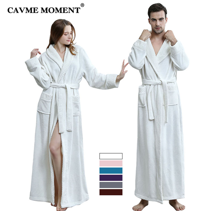 CAVME 2019 Plus Size Women Long Flannel Bathrobe for Lover Winter Men's Robes CUSTOM Bride Bridesmaid Kimono Night Dressing Gown