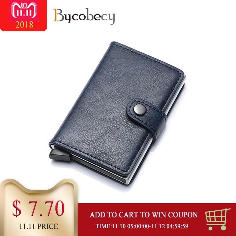 Bycobecy tarjetero RFID Metal billetera antirrobo billeteras automático Pop Up tarjeta funda aleación de aluminio tarjeta de crédito