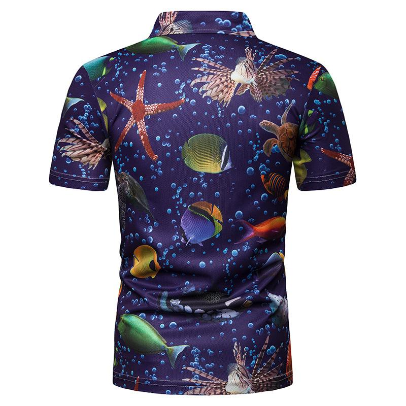 Polo Shirt Men Underwater world print Short sleeves Men 39 s POLO Shirt Men Clothes 2019 Summer Tops Tees in Polo from Men 39 s Clothing