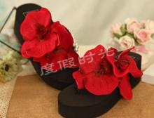 Fashion Ladies  Summer Bride Red Sexy Sandals Women Shoes Flip Flops Free Shipping HAHA FLOWER