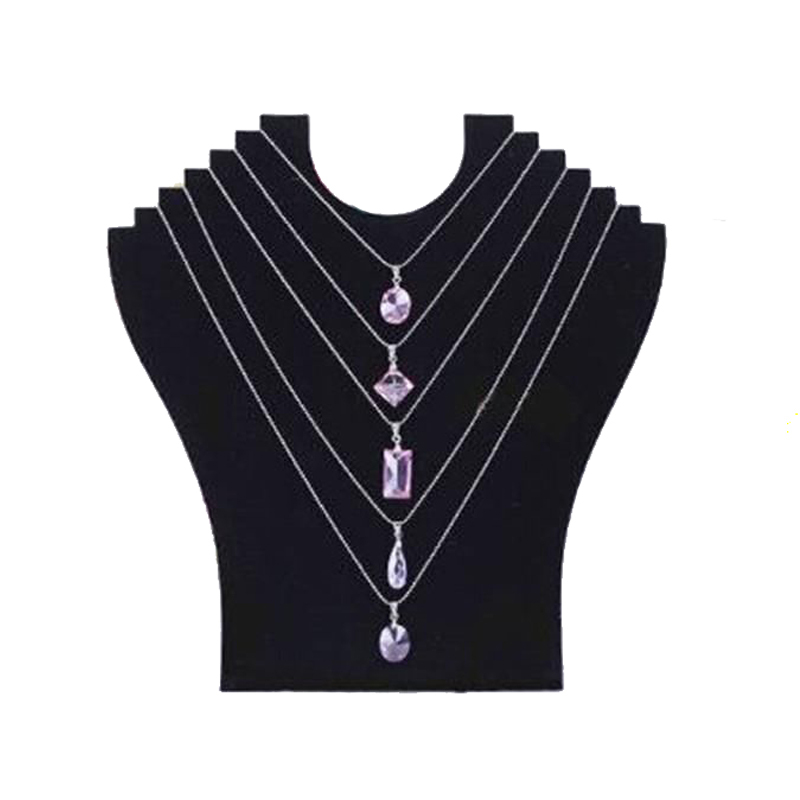 Black Velvet Necklace Jewelry Rack Paperboard Fashion Pendant Chain Bracelet Display Stand Holder Organizer