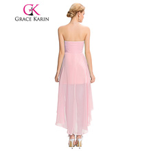 High Low Bridesmaid Dress 2017 Short Front Long Back Prom Gown Strapless Bead Sequin Pink Turquoise Bridesmaid Dress Grace Karin